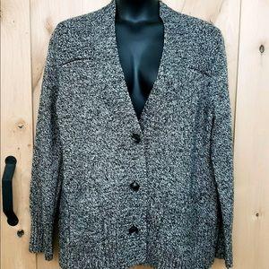 NWT Eddie Bauer Cardigan Marl Black/White Sweater